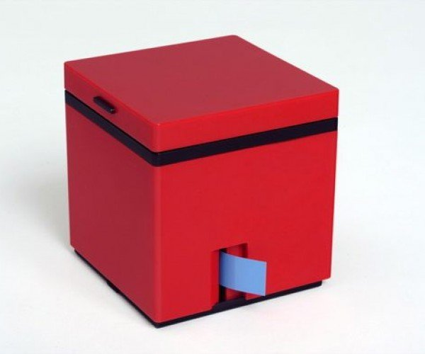 Cool Red Cube Hides a High-Tech Label Maker