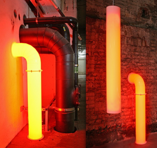 Red Pipe Lamp : Lightpipe is a pipe shaped light technabob