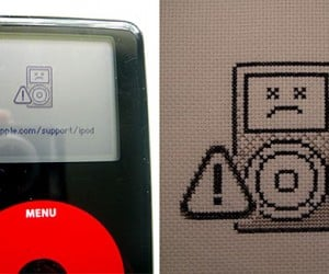 Dead iPod Gets Crossed Eyes, Cross Stitched