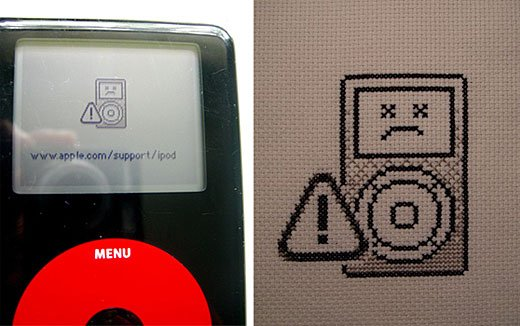 Sad iPod Cross Stitch