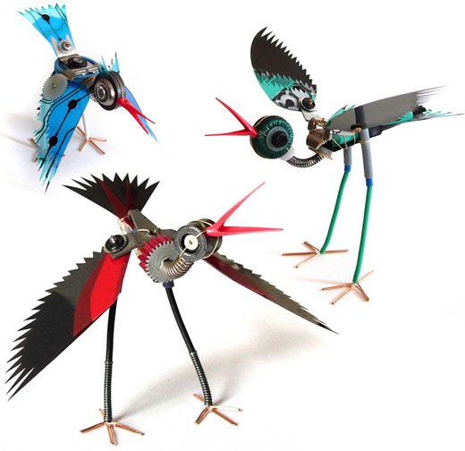 mechanical bird sculptures by ann p. smith