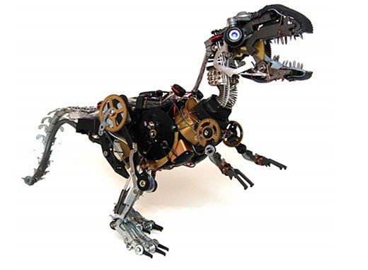 robot dino sculpture by ann p. smith