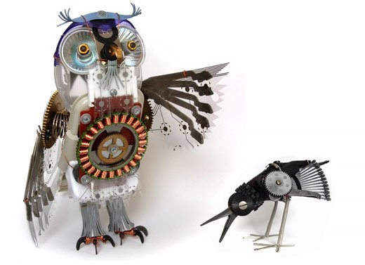 mechanical owl sculptures by ann p. smith