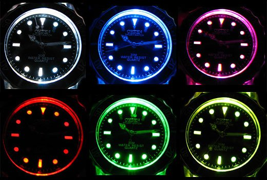 Multi-Color LED Watch from Ohsen