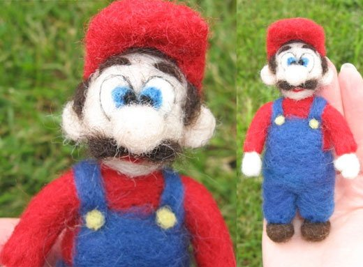 Needle Felted Mario by LittleElfsToyshop