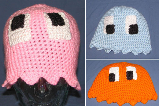pac-man ghost knit hats