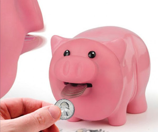 Hungry Piggy Bank Eats Coins for Lunch