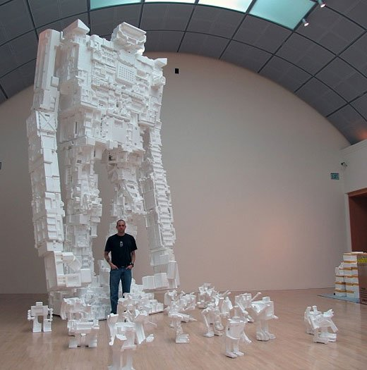Michael Salter and his Styrofoam Robots