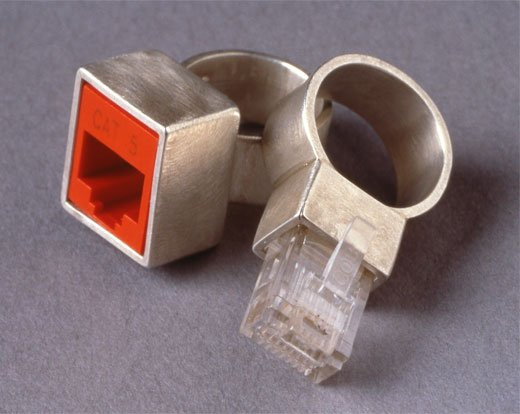 Cat 5 Ethernet Wedding Rings by Jana Brevick