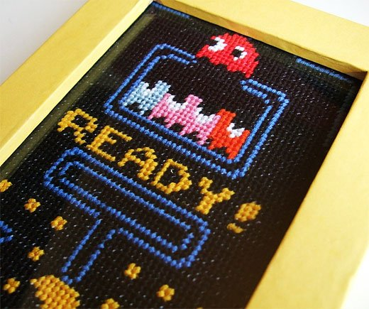 Pac-Man Cross Stitch by Lostmitten