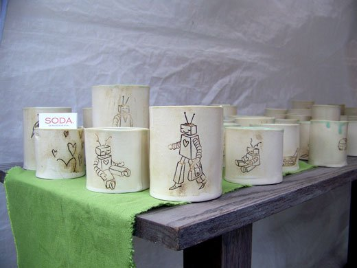 Robot Ceramic Mugs by Soda by Amy