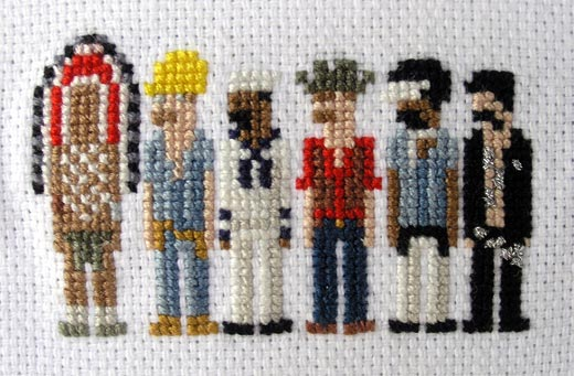 Pixel Village People Cross Stitch by Rubykhan