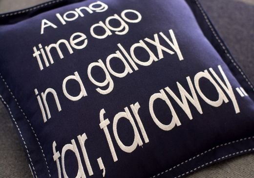 pillow with the iconic opening text. These official Star Wars pieces are