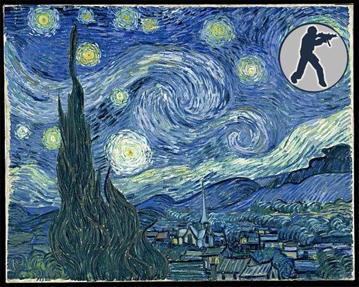 valve counter-strike starry nigh vincent van gogh art mod level