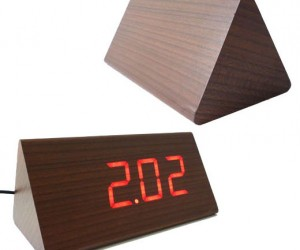 Triangular LED Wood Clock Conceals Its True Identity
