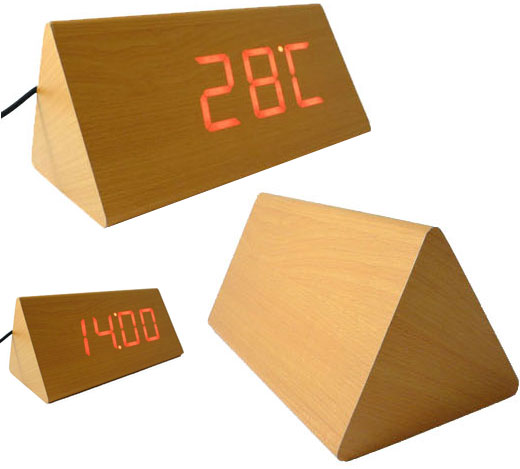Wood LED Triangle Clock
