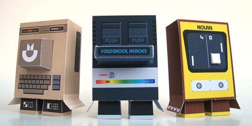 foldskool heroes retro gaming computer papercraft c64 pong atari 2600