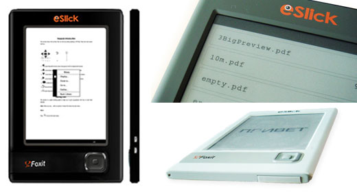 foxit eslick e-book e-ink reader kindle competitor