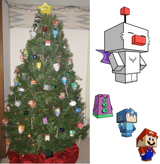 papercraft gaming retro moogle tentacle mega man mario christmas tree decoration