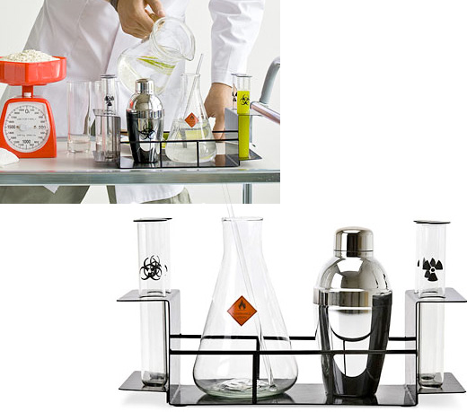 cocktail chemistry set drink liquor mix tumbler shaker shot glasses science