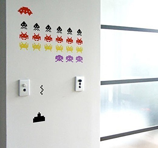 space invaders wall decal vinyl game retro etsy
