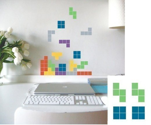 tetris wall decal vinyl retro game etsy