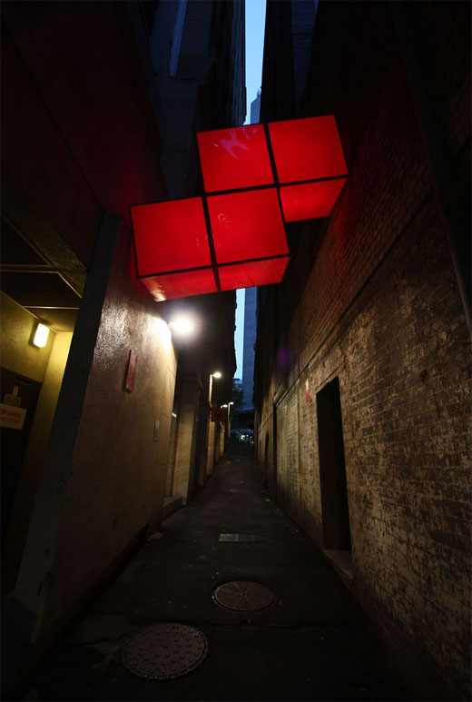 Giant Tetris Sculpture Lights in Sydney Australia