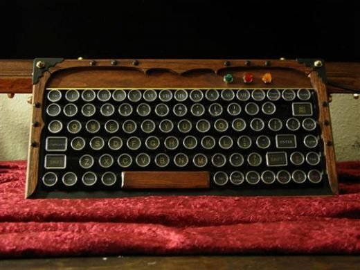 wooden keyboard retro steampunk mechanical typewriter