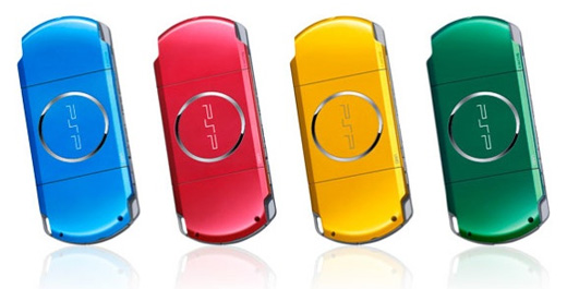 sony psp psp-3000 carnival colors red yellow green blue