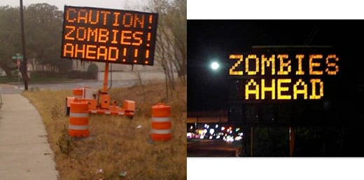 zombies road signs prank texas austin