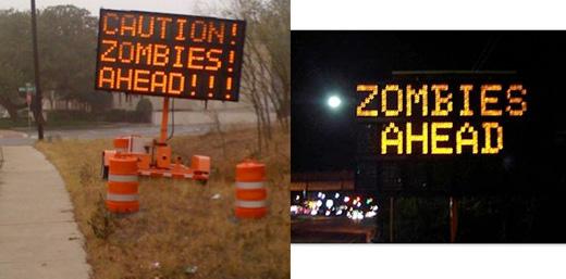 zombies road signs prank texas austin