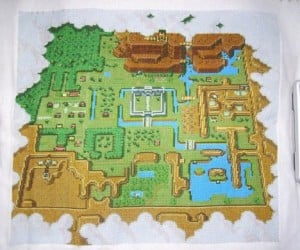 Off to Hyrule? Take This Zelda Cross Stitch Map