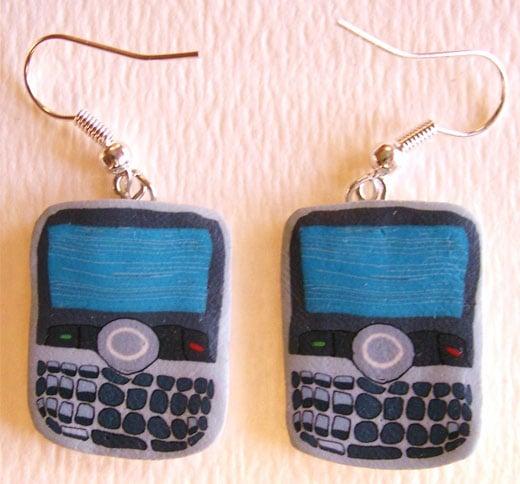 blackberry curve fimo clay earrings barb feldman etsy