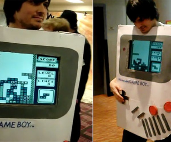 Nintendo Game Boy Costume Plays Tetris [Cosplay]
