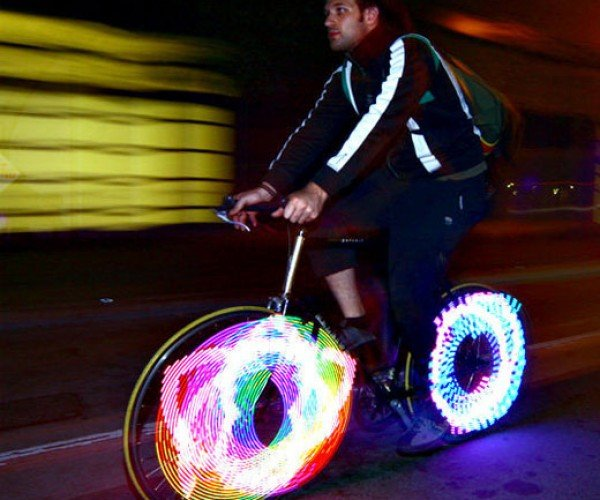 Monkeylectric Monkey Lights Make Bike Wheels Fly Through the Night in a Splash of Color