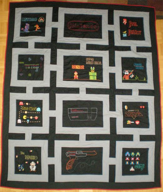 nes nintendo quilt craft custom pixel 8-bit