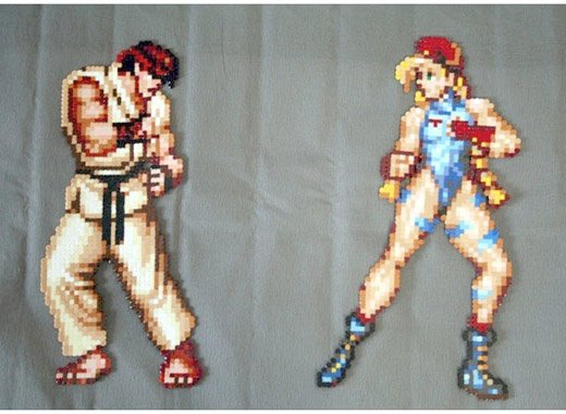 super street fighter ii cammy ryu perler bead