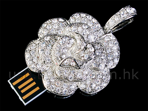 usb crystal necklace rose portable drive