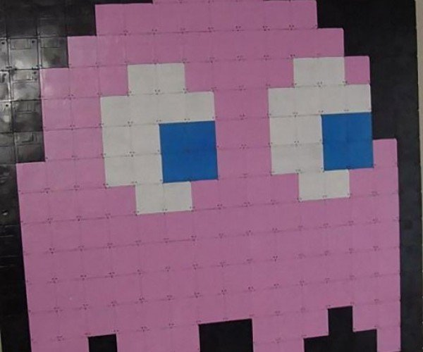 Pinky the Ghost Pixel Art Mosaic Made From 3.5-Inch Floppy Disks [Pac-Man]