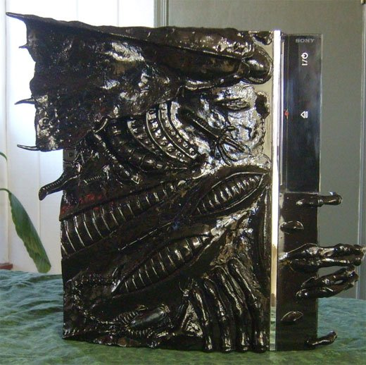 Tattoo artist / casemodder GivinTats, created this creepy looking case by