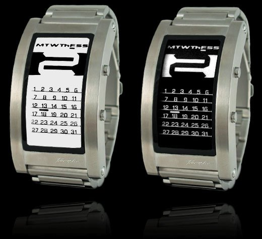 phosphor e ink watches kind of like a kindle that you wear on your wrist and doesnt read books