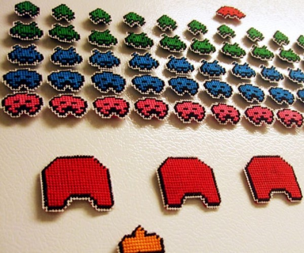 Space Invaders Needlepoint Fridge Magnets Plan Their Attack on Your Ice Box