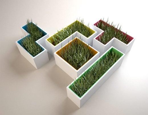 tetris block planter tetromino pot garden grass
