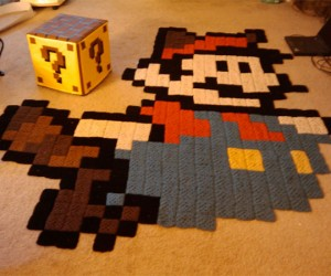Mario Rug and Question Mark Block Ottoman: the Perfect Living Room