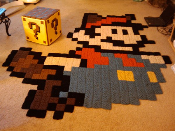Mario rug and question mark block ottoman the perfect for Decoracion gamer