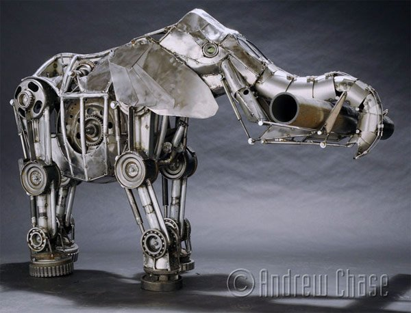 andrew chase mechanical animal sculpture elephant