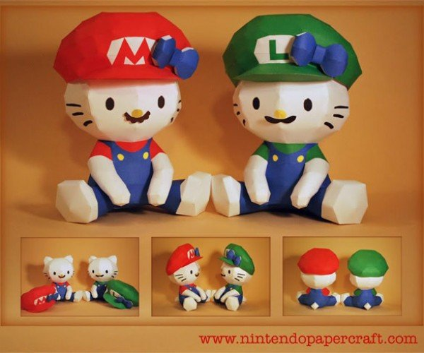 Cute Overload: Hello Kitty Mario (and Luigi) Papercraft
