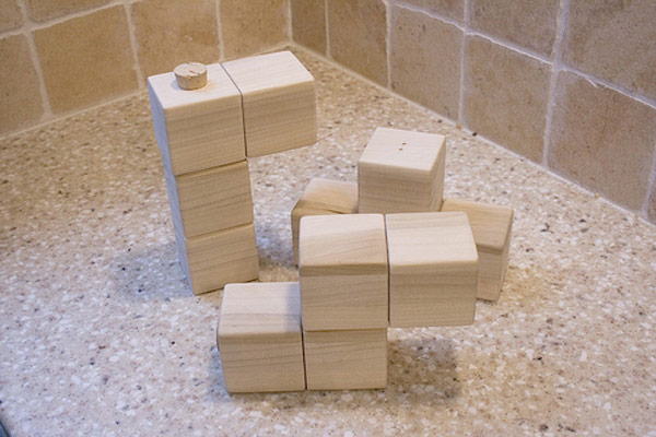 wooden tetris salt pepper