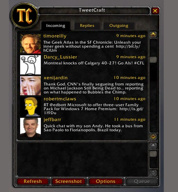 tweetcraft world of warcraft twitter client