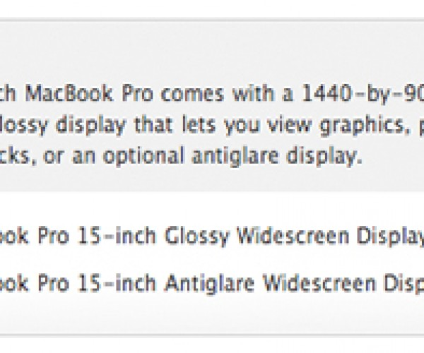 Apple Sneaks in Anti-Glare Option for 15-Inch Macbook Pro